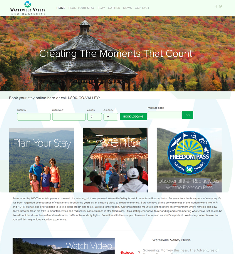 Waterville Valley Resort Association website design and implementation in New Hampshire